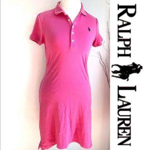 Ralph Lauren Polo Dress Fitted Cotton Pink Medium